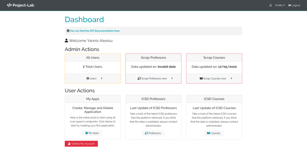 Project lab Admin Dashboard